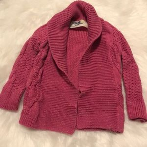 Pink sparkly pea coat sweater